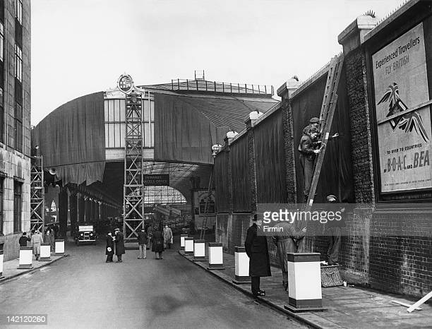 Paddington railway station in London prepares for the funeral of King George VI 13th February 1952 The body of the King was transported from...