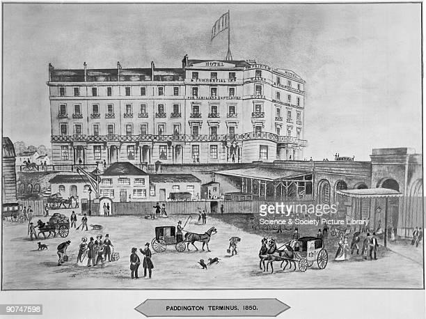 Paddington Terminus' 1850 Illustration showing the Great Western Railway's Paddington Station London