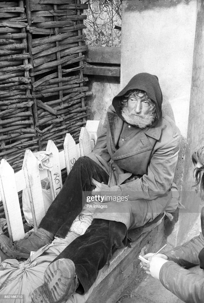 Paddington Born Tramp Dennis Rough Beside His New Home A Wicker Garden Shed