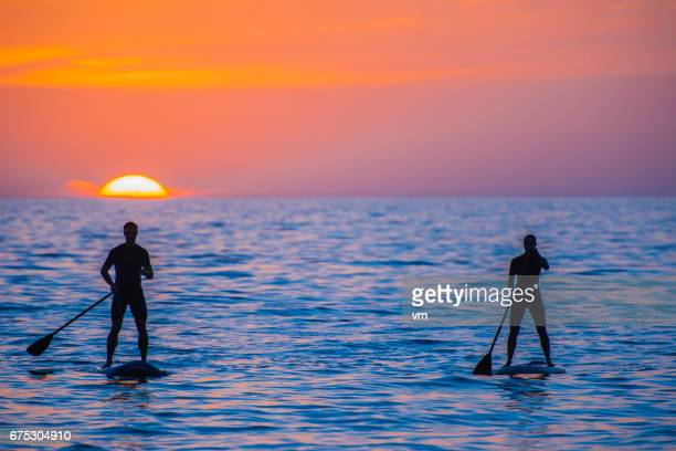 Paddle boarder couple at sea during sunset