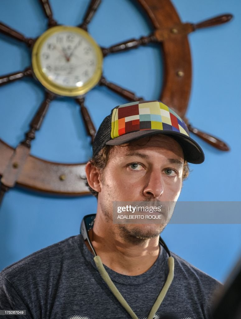 U.S. paddle boarder from Tennessee, Benjamin Schiller Friberg, gives a press conference at Marina Hemingway, on August 1, 2013 in Havana. Schiller will attempt to cross the Florida strait on a paddle board.