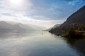 Paddle Boarding in the Columbia River Gorge Oregon one hazy afternoon United States