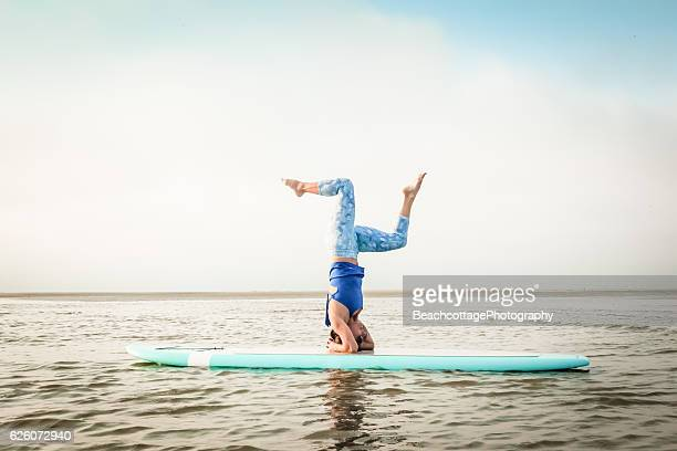 Paddleboard Headstand Bent Knees