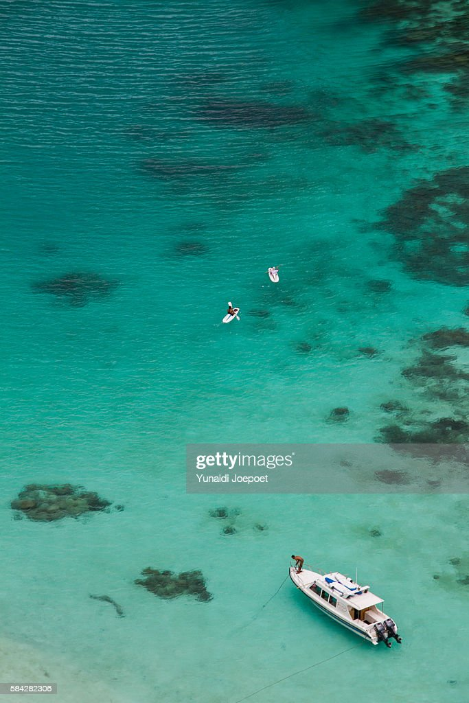 Paddleboarding in Clear Sea