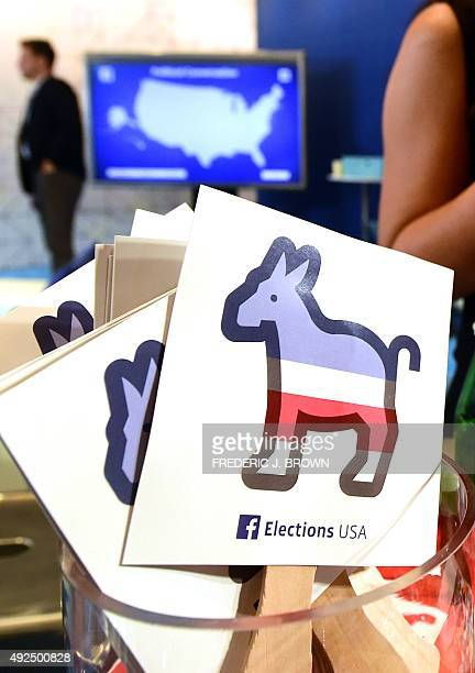 Paddles with the Donkey logo are seen at the Facebook section ahead of the Democratic presidential debate at the Wynn Hotel in Las Vegas Nevada on...