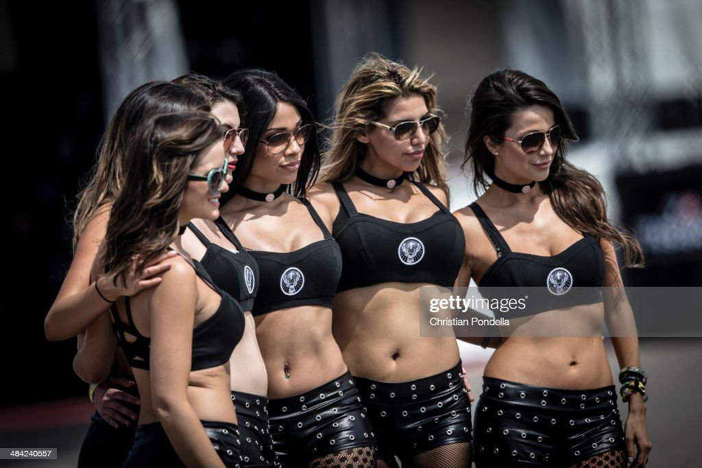 Paddock Girls pose for a photo during the MotoGP Red Bull U.S. Grand Prix of The Americas - Free Practice at Circuit of The Americas on April 11, 2014 in Austin, Texas.