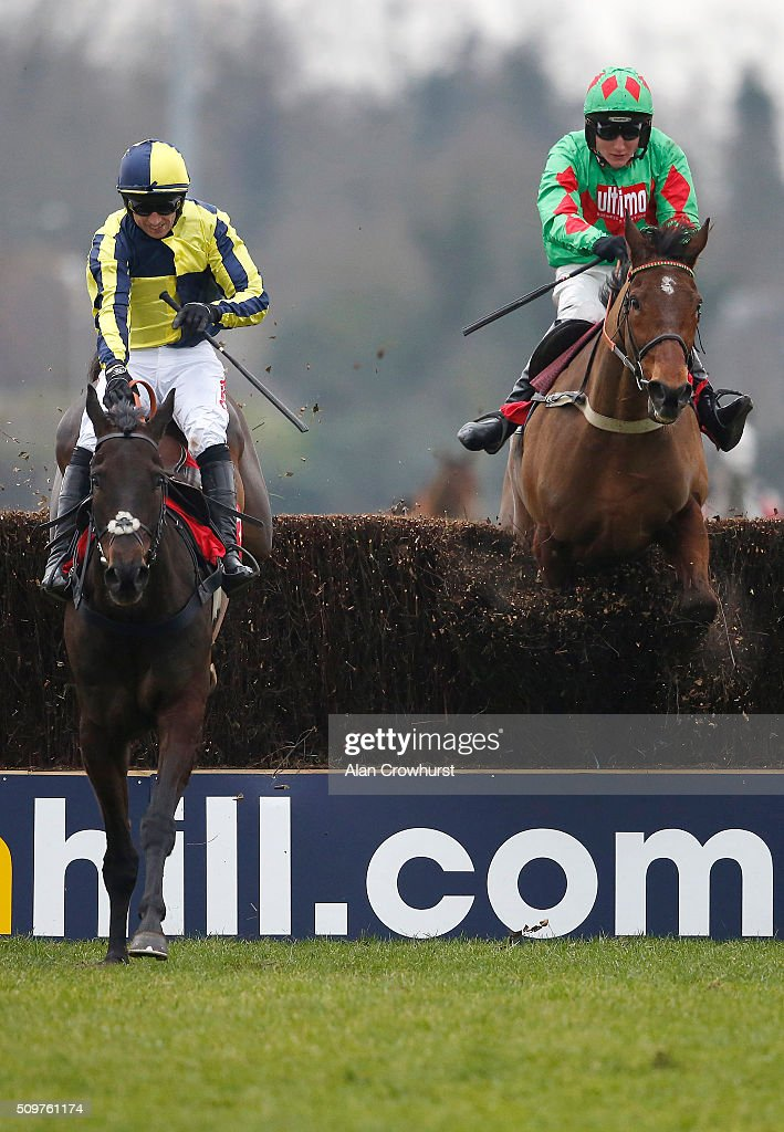 <a gi-track='captionPersonalityLinkClicked' href=/galleries/search?phrase=Paddy+Brennan&family=editorial&specificpeople=241422 ng-click='$event.stopPropagation()'>Paddy Brennan</a> riding Always On The Run (L) clear the last to win The Racing UK IN HD Next Month Novices' Limited Handicap Steeple Chase as Devil To Pay falls at Kempton Park racecourse on February 12, 2016 in Sunbury, England.