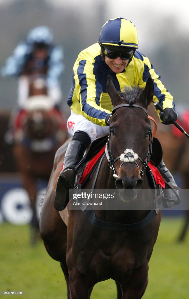 <a gi-track='captionPersonalityLinkClicked' href=/galleries/search?phrase=Paddy+Brennan&family=editorial&specificpeople=241422 ng-click='$event.stopPropagation()'>Paddy Brennan</a> riding Always On The Run clear the last to win The Racing UK IN HD Next Month Novices' Limited Handicap Steeple Chase at Kempton Park racecourse on February 12, 2016 in Sunbury, England.