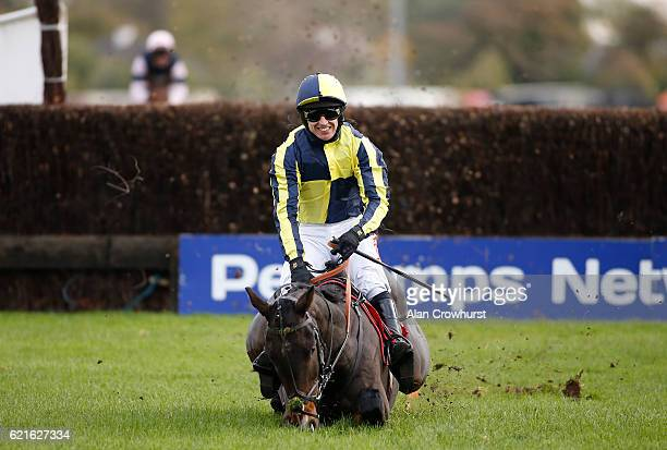 Paddy Brennan riding Barney Dwan makes a mistake at the last fence but manages not to fall in The Weatherbys Racing Diaries Novices' Steeple Chase at...