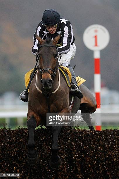Paddy Brennan riding Imperial Commander clear the last to win The Betfair Steeple Chase at Haydock Park racecourse on November 20 2010 in Haydock...