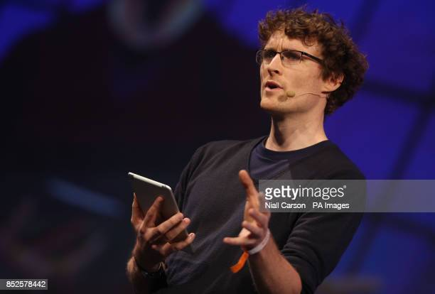Paddy Cosgrave speaking about the future of Bitcoin at the Dublin web summit being held at the RDS in Dublin