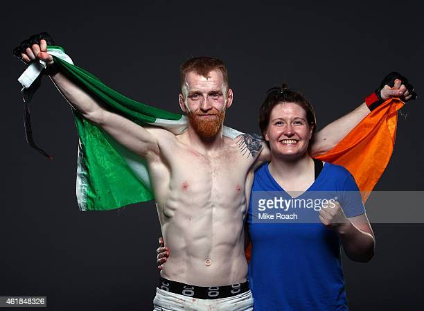 Paddy Holohan of Ireland and Aisling Daly pose for a post fight portrait backstage during the UFC Fight Night event at the TD Garden on January 18...