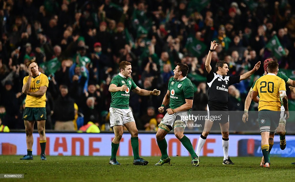 Paddy Jackson of Ireland and CJ Stander of Ireland celebrate as Referee, Jerome Garces awards Ireland a penalty to finish the game during the international match between Ireland and Australia at the Aviva Stadium on November 26, 2016 in Dublin, Ireland.