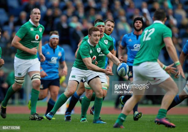 Paddy Jackson of Ireland passes the ball during the RBS Six Nations match between Italy and Ireland at Stadio Olimpico on February 11 2017 in Rome...
