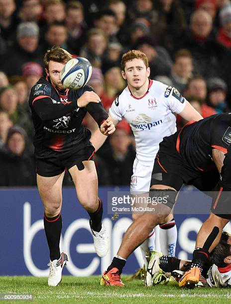 Paddy Jackson of Ulster and Vincent Clerc of Toulouse during the European Champions Cup Pool 1 rugby game at Kingspan Stadium on December 11 2015 in...