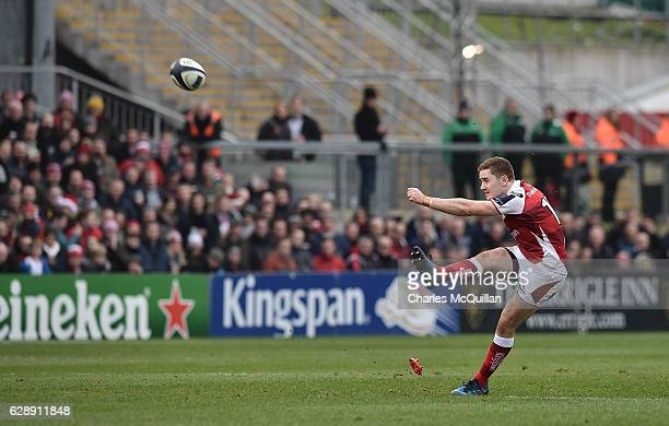 Paddy Jackson of Ulster converts a penalty during the European Champions Cup game between Ulster and ASM Clermont Auvergne on December 10 2016 in...