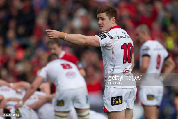 Paddy Jackson of Ulster during the Guinness PRO12 rugby match between Munster Rugby and Ulster Rugby at Thomond Park in Limerick Ireland on April 15...