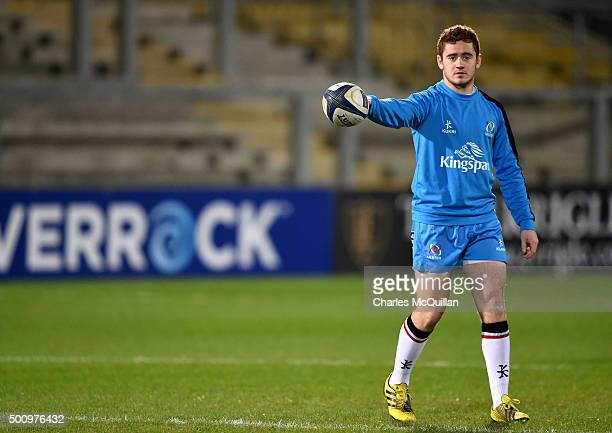 Paddy Jackson of Ulster during the warm up before the European Champions Cup Pool 1 rugby game between Ulster and Toulouse at Kingspan Stadium on...