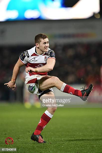 Paddy Jackson of Ulster kicks a conversion during the Champions Cup Pool 5 game between Ulster Rugby and Exeter Chiefs at Kingspan Stadium on October...