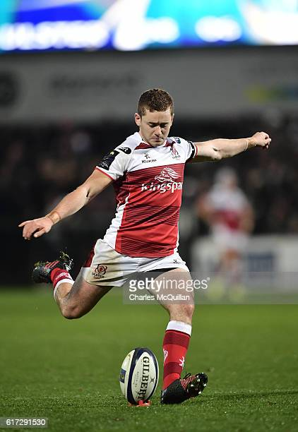Paddy Jackson of Ulster kicks a penalty during the Champions Cup Pool 5 game between Ulster Rugby and Exeter Chiefs at Kingspan Stadium on October 22...