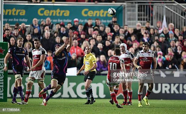 Paddy Jackson of Ulster kicks the winning drop kick during the Champions Cup Pool 5 game between Ulster Rugby and Exeter Chiefs at Kingspan Stadium...