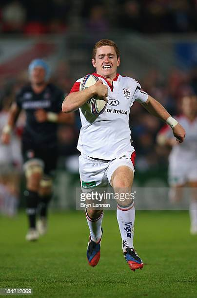 Paddy Jackson of Ulster Rugby in action during the Heineken Cup match between Ulster and Leicester Tigers at Ravenhill on October 11 2013 in Belfast...