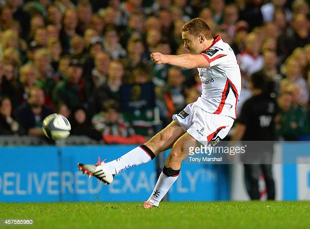 Paddy Jackson of Ulster Rugby kicks a penalty during the European Rugby Champions Cup Pool 3 match between Leicester Tigers v Ulster Rugby at Welford...