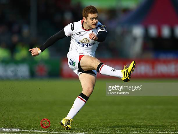 Paddy Jackson of Ulster Rugby kicks a penalty during the European Rugby Champions Cup pool one match between Saracens and Ulster at Allianz Park on...