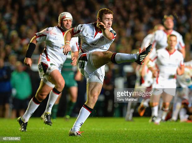 Paddy Jackson of Ulster Rugby kicks the ball to touch during the European Rugby Champions Cup Pool 3 match between Leicester Tigers v Ulster Rugby at...