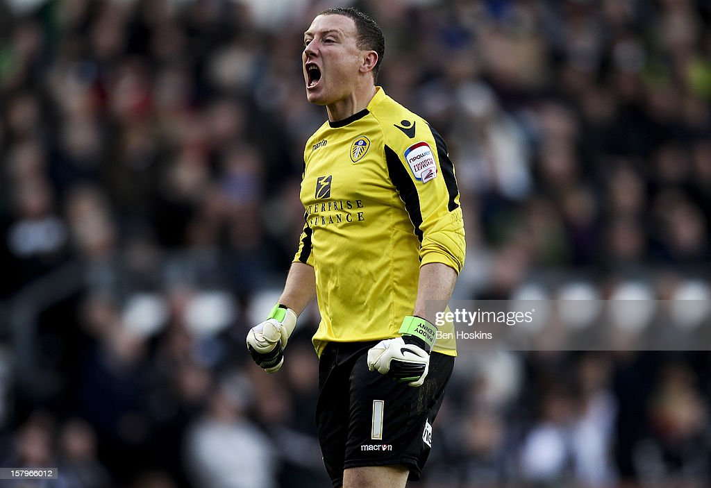 Paddy Kenny of Leeds celebrates after Paul Green scored his team's goal during the npower Championship match between Derby County and Leeds United at Pride Park on December 8, 2012 in Derby, England.