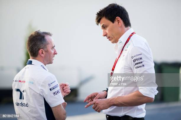Paddy Lowe of Great Britain and Williams with Toto Wolff of Germany and Mercedes during the Azerbaijan Formula One Grand Prix at Baku City Circuit on...
