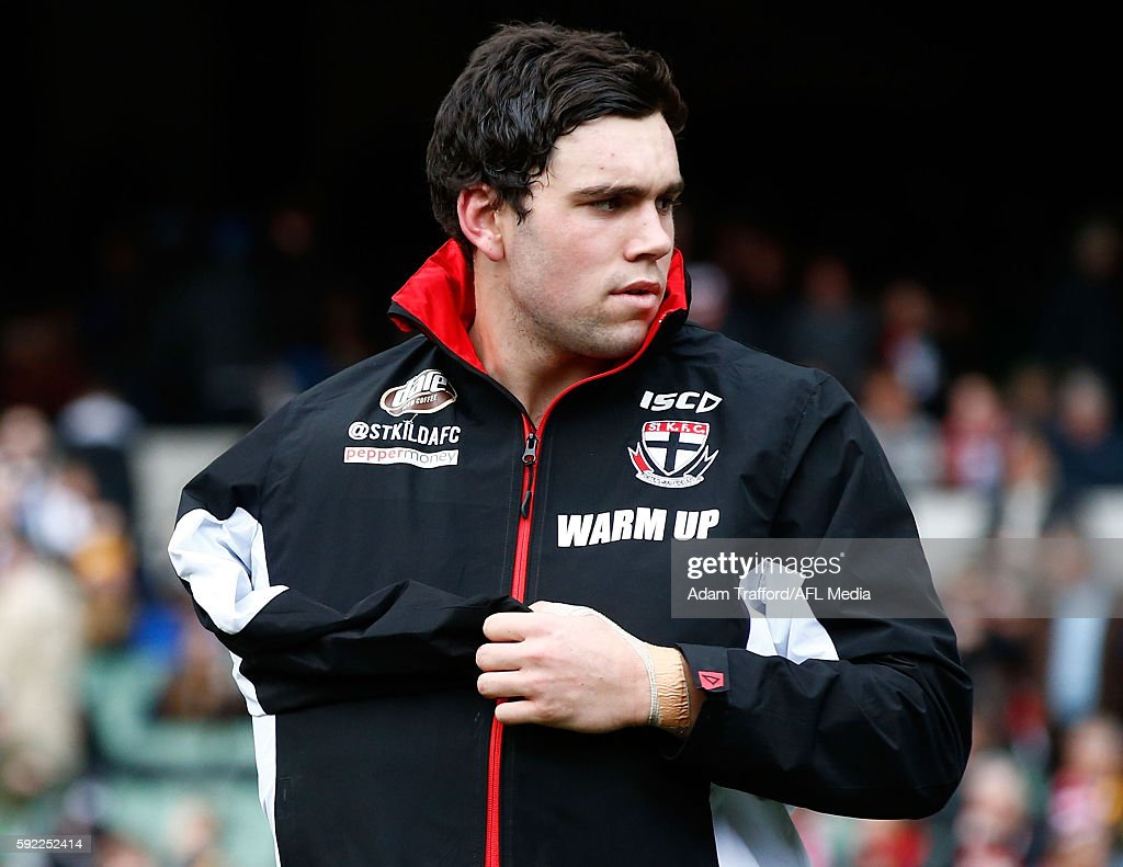 Paddy McCartin of the Saints is seen injured during the 2016 AFL Round 22 match between the Richmond Tigers and the St Kilda Saints at the Melbourne...