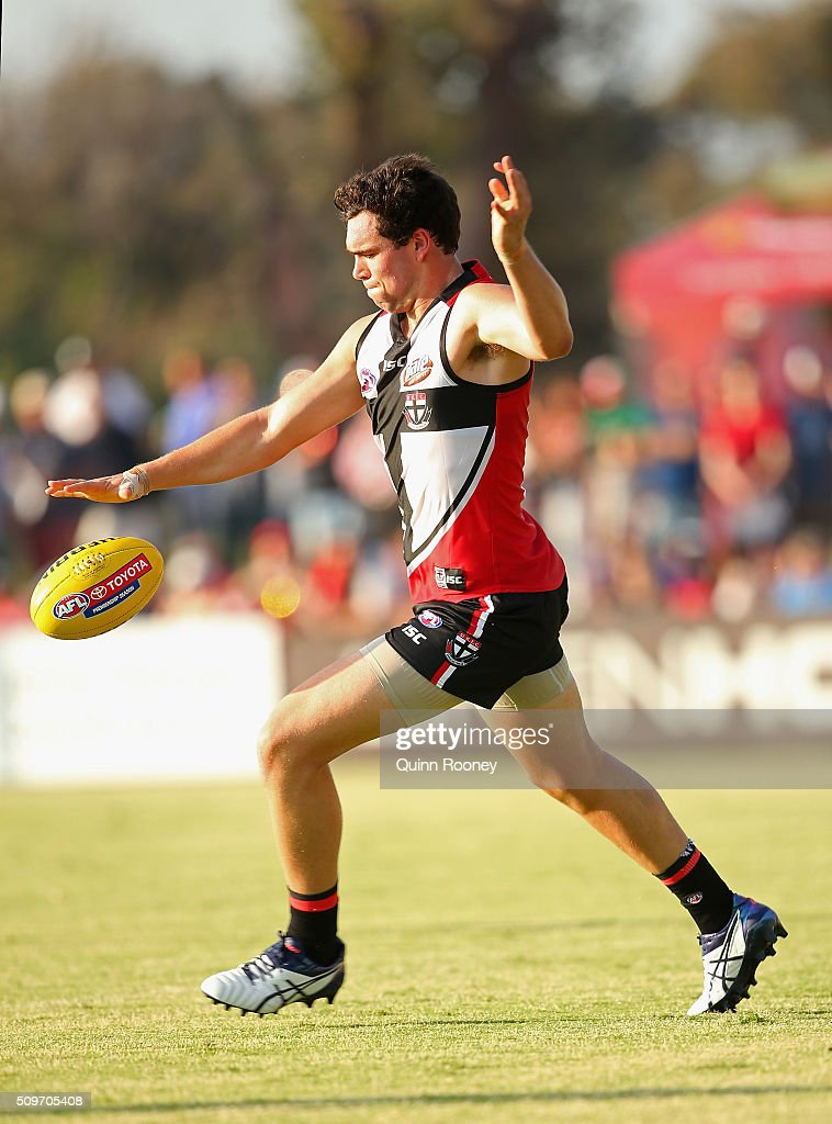 Paddy McCartin of the Saints kicks during the St Kilda Saints AFL Intra-Club Match at Trevor Barker Beach Oval on February 12, 2016 in Melbourne, Australia.