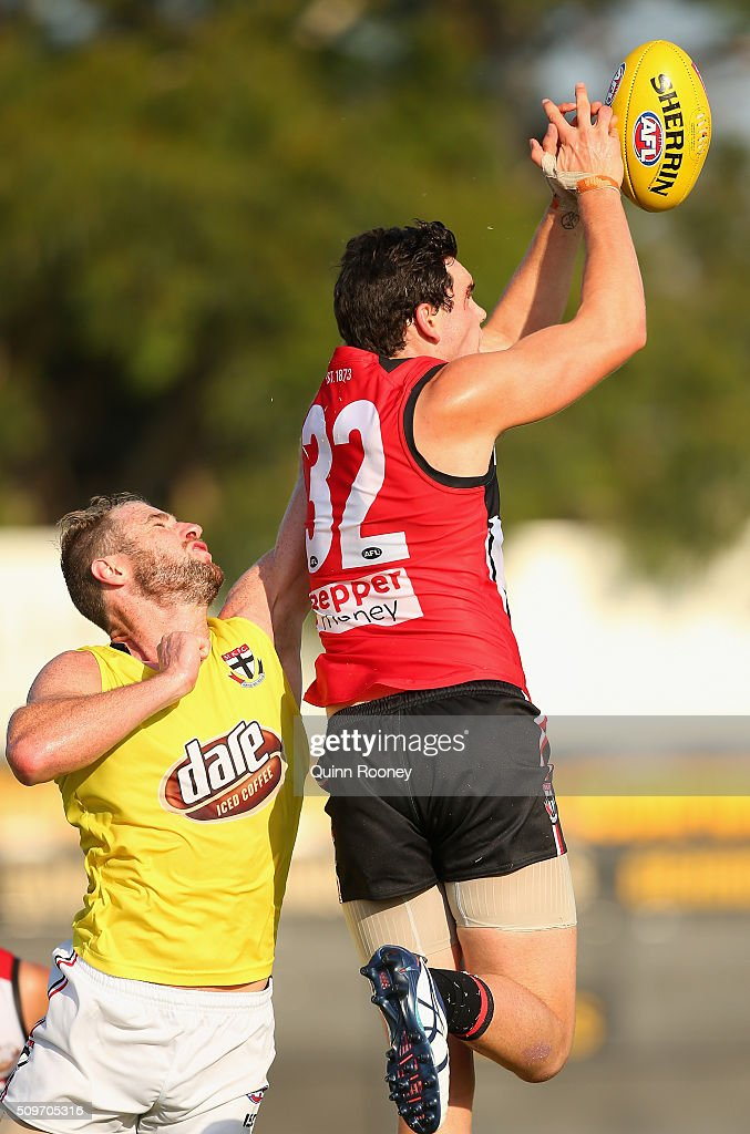 Paddy McCartin of the Saints marks during the St Kilda Saints AFL Intra-Club Match at Trevor Barker Beach Oval on February 12, 2016 in Melbourne, Australia.