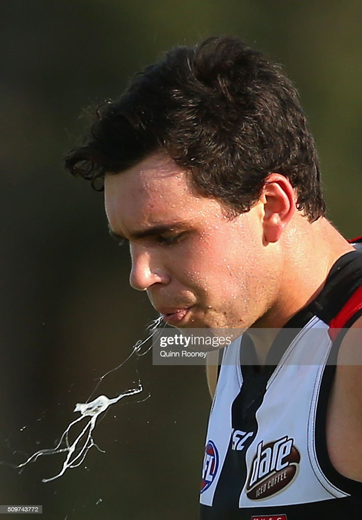 Paddy McCartin of the Saints spits during the St Kilda Saints AFL Intra-Club Match at Trevor Barker Beach Oval on February 12, 2016 in Melbourne, Australia.