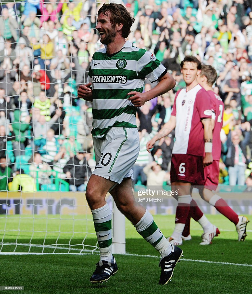Paddy McCourt of Celtic celebrates after scoring during the Clydesdale Bank Premier League match between Celtic and Hearts at Celtic Park on September 11, 2010 in Glasgow, Scotland.