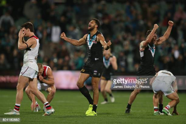 Paddy Ryder and Brad Ebert of the Power celebrate their win during the 2017 AFL round 19 match between the Port Adelaide Power and the St Kilda...