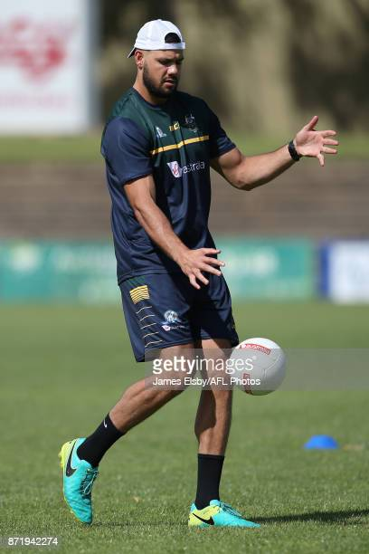 Paddy Ryder kicks during an Australia International Rules Series Training Session at Adelaide Oval on November 9 2017 in Adelaide Australia