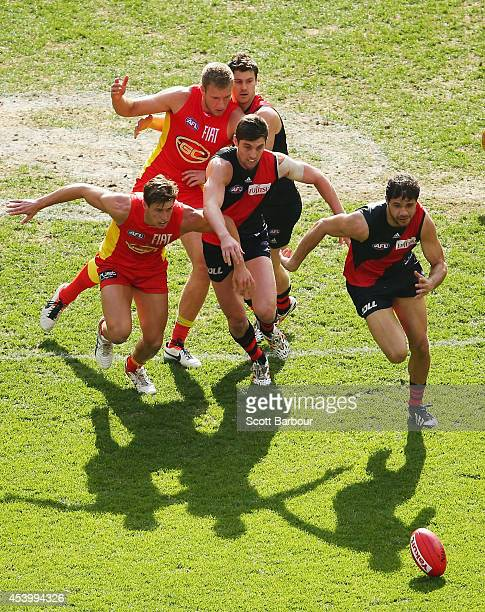 Paddy Ryder of the Bombers competes for the ball during the round 22 AFL match between the Essendon Bombers and the Gold Coast Suns at Etihad Stadium...