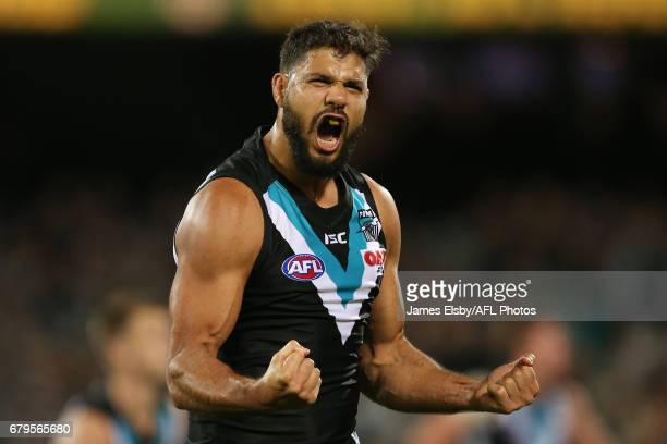 Paddy Ryder of the Power celebrates a goal during the 2017 AFL round 07 match between Port Adelaide Power and the West Coast Eagles at the Adelaide...