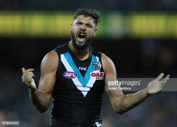 Paddy Ryder of the Power celebrates after scoring a goal during the round seven AFL match between the Port Adelaide Power and the West Coast Eagles...