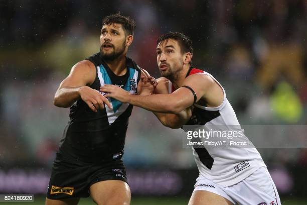 Paddy Ryder of the Power competes with Billy Longer of the Saints during the 2017 AFL round 19 match between the Port Adelaide Power and the St Kilda...