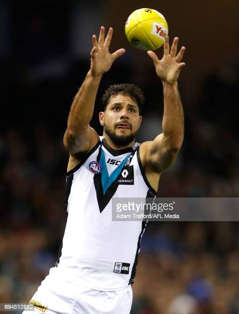 Paddy Ryder of the Power in action during the 2017 AFL round 12 match between the Essendon Bombers and the Port Adelaide Power at Etihad Stadium on...