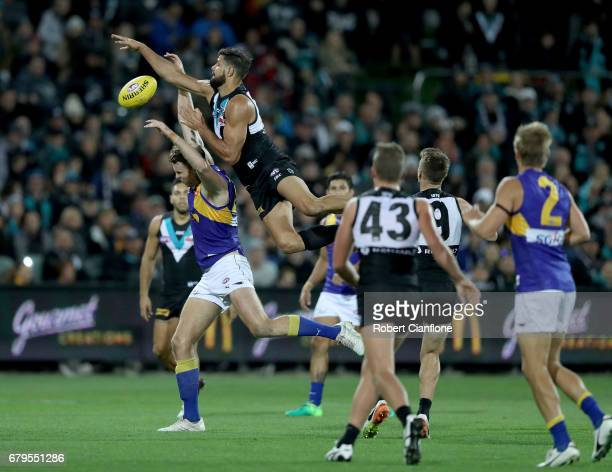Paddy Ryder of the Power leaps for the ball during the round seven AFL match between the Port Adelaide Power and the West Coast Eagles at Adelaide...