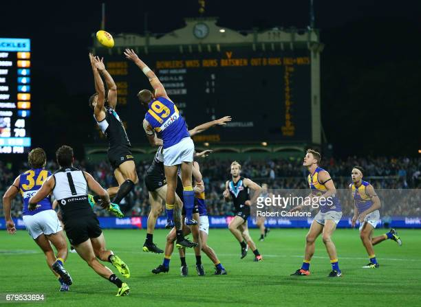 Paddy Ryder of the Power takes a mark during the round seven AFL match between the Port Adelaide Power and the West Coast Eagles at Adelaide Oval on...