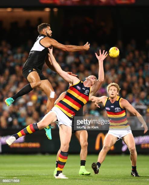 Paddy Ryder of the Power wins the ball in the ruck over Sam Jacobs of the Crows during the round three AFL match between the Port Adelaide Power and...