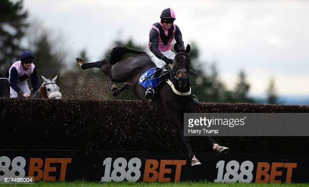 Paddy the Oscar and Jockey Conor Ring take a flight during the RGB Building Supplies Handicap Chase at Exeter Racecourse on November 15 2017 in...