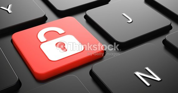 Padlock Icon on Red Keyboard Button. : Stock Photo