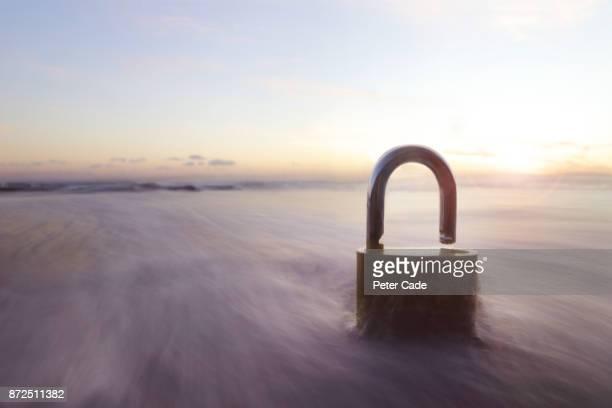 Padlock in ocean