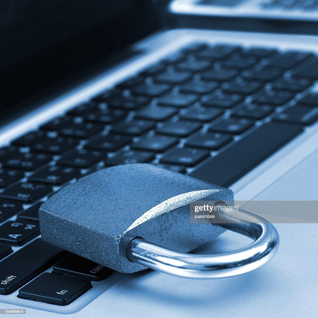 Padlock on a laptop : Stock Photo